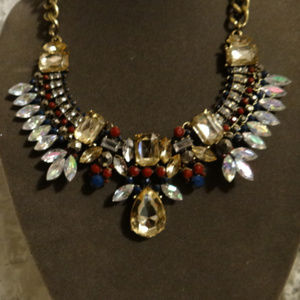 HUGE Statement Necklace Gold Red Clear Blue NWT